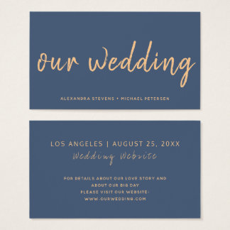 Navy rose gold modern wedding website typography business card