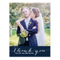 Navy | Script Wedding Thank You Vertical Postcard