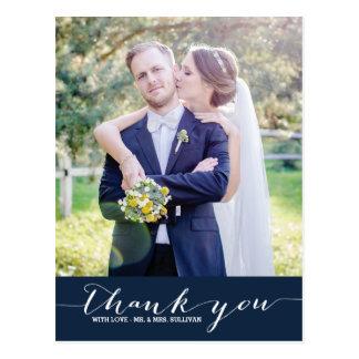 Navy   Script Wedding Thank You Vertical Postcard