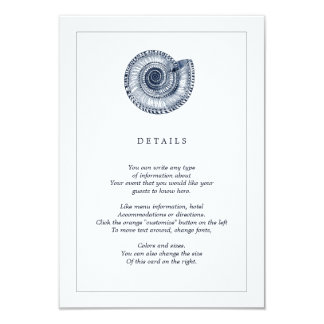 Navy Sea Shell Beach Wedding Information Card