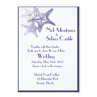 navy sea star wedding invitation