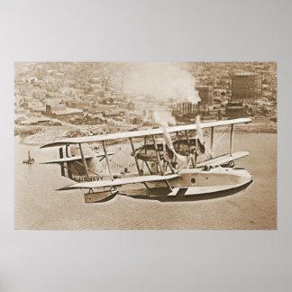 Navy Seaplane PN9 Flying Coastline Poster