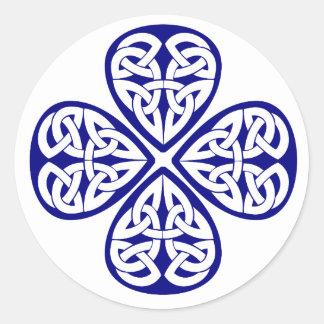 navy shamrock celtic knot classic round sticker