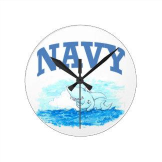 Navy Shark Clock