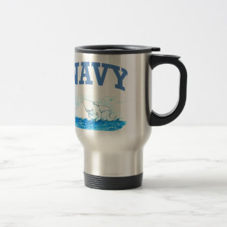 Navy Shark Travel Mug