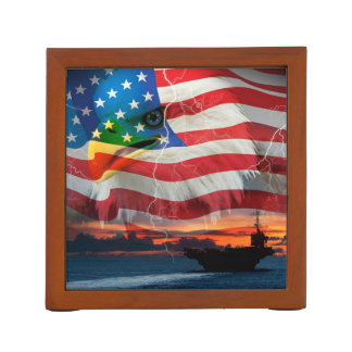 Navy ship sailing into the sunset desk organizer