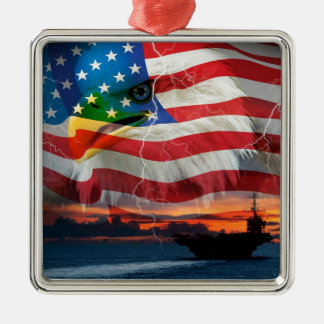 Navy ship sailing into the sunset metal ornament