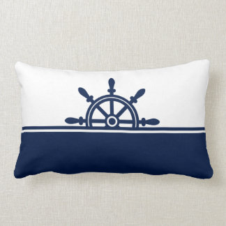 Navy Ship's Wheel Nautical Lumbar Pillow