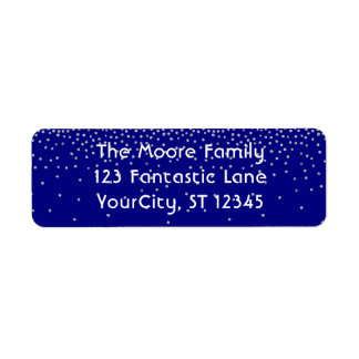 Navy & Silver Confetti w/ Your Name and Address Return Address Label