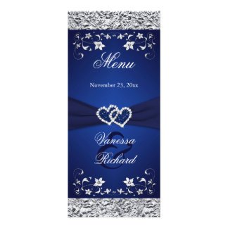 Navy, Silver Floral Joined Hearts Menu Card