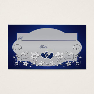 Navy, Silver Gray Floral, Hearts Place Card