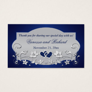 Navy, Silver Gray Floral, Hearts Wedding Favor Tag