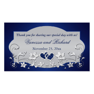 Navy, Silver Gray Floral, Hearts Wedding Favor Tag Business Card