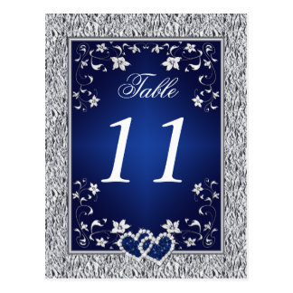 Navy, Silver Gray Floral Table Number Postcard