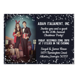 Navy Silver Light Photo Corporate Christmas Party Card