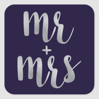Navy & Silver newlywed stickers