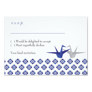 Navy / Silver Origami Cranes Wedding RSVP Card