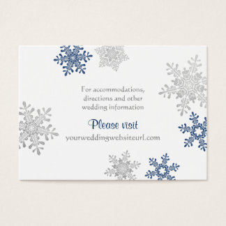 Navy Silver Snowflake Winter Wedding Insert Cards