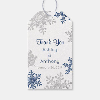 Navy Silver Snowflake Winter Winter Thank You Gift Tags