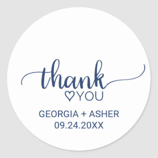Navy Simple Calligraphy Thank You Wedding Favor Classic Round Sticker