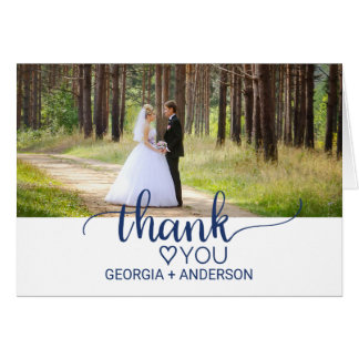Navy Simple Calligraphy Wedding Photo Thank You Card