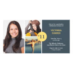 Navy simply collage class of grad announcement custom photo card
