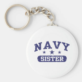 Navy Sister Basic Round Button Keychain