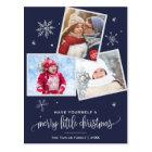 Navy Snowflake | 3 Photo Christmas Postcard