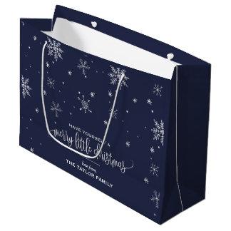 Navy Snowflake Christmas Large Gift Bag