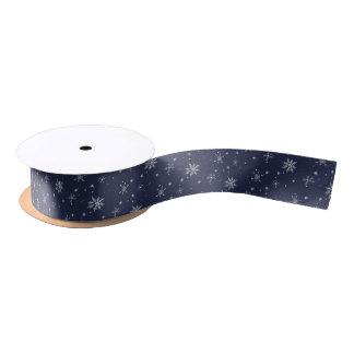 Navy Snowflake Christmas Satin Ribbon