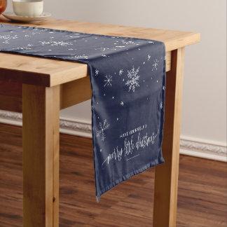 Navy Snowflake Christmas Short Table Runner