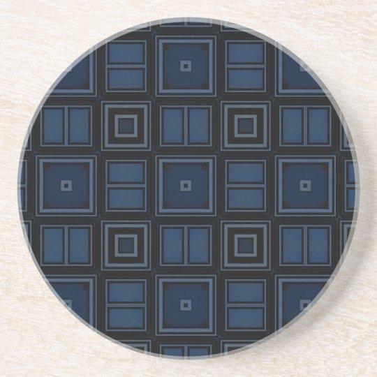 Navy Squares Sandstone Coaster by Julie Everhart