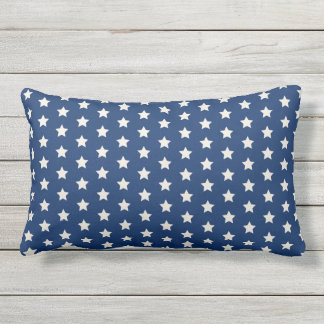 Navy Star Pattern | Patriotic Lumbar Pillow