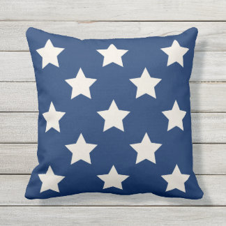 Navy Star Pattern | Patriotic Outdoor Pillow