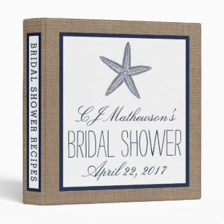 Navy Starfish Beach Burlap Bridal Shower Recipe 3 Ring Binder