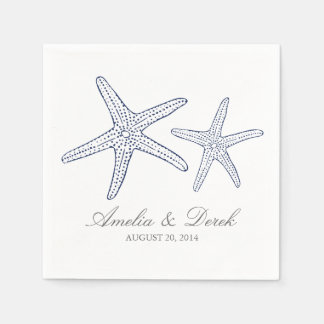 Navy Starfish Cocktail Napkins Paper Napkin