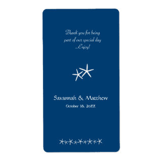 Navy Starfish Couple Wine Labels