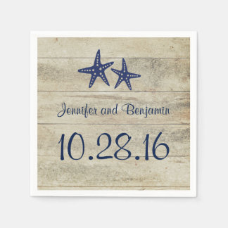 Navy Starfish Rustic Driftwood Beach Wedding Paper Napkins