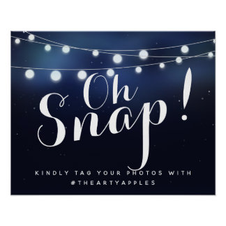 Navy string lights oh snap wedding sign hashtag