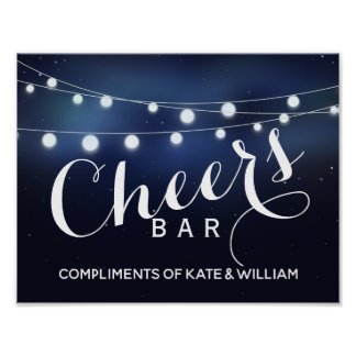 Navy String of lights CHEER Bar wedding/party sign