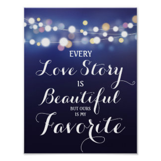 Navy String of lights Every Love story is..wedding Poster