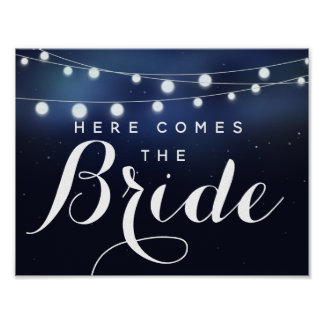 Navy String of lights here comes the bride Poster