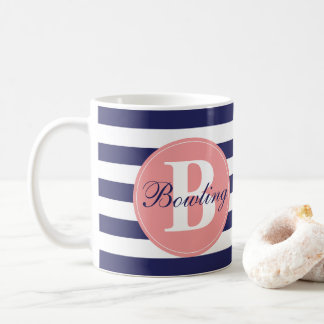 Navy Stripe Monogram Mug