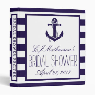 Navy Stripe Nautical Anchor Bridal Shower Recipe 3 Ring Binder