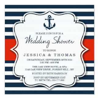"Navy Stripe Nautical Anchor Wedding Shower 5.25"" Square Invitation Card"