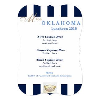 "Navy Stripe Pageant Luncheon Program Card 5"" X 7"" Invitation Card"