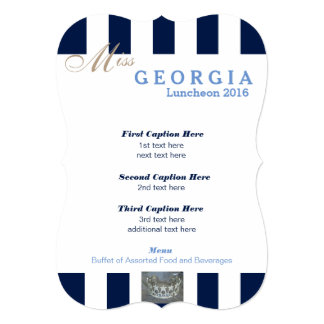 "Navy Stripe Pageant Luncheon Program Card 5"" X 7"" Invitation Card"