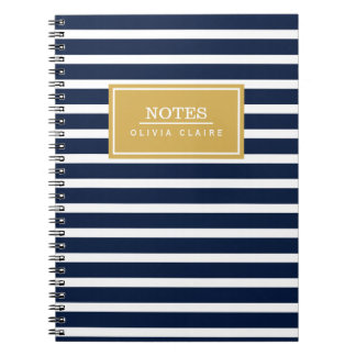 Navy Stripe Pattern Gold Name Template Notebook