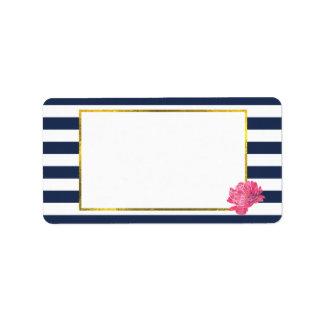Navy Stripe & Pink Peony Address Labels