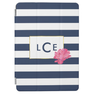 Navy Stripe & Pink Peony Monogram iPad Air Cover